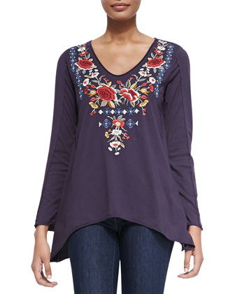 Shirina V-Neck Embroidered Tee