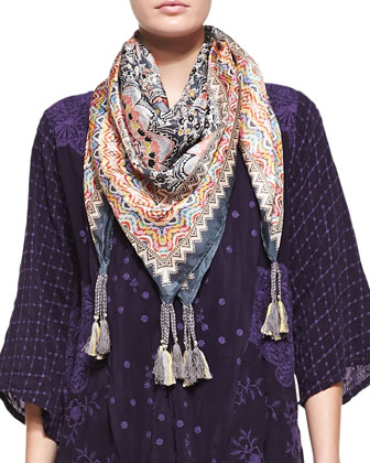 Lilly Kimono Embroidered Jacket & Silk Georgette Chaney Printed Scarf