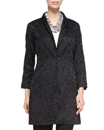 Embroidered Silk Dots Coat, Women's