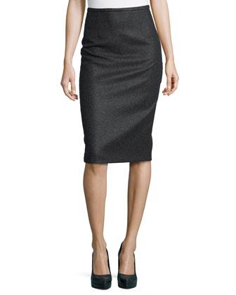 Techno Felt Wool Pencil Skirt