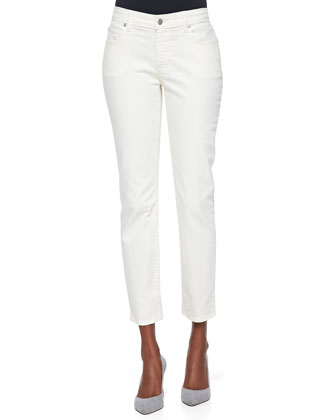 Slim Stretch Ankle Jeans, Ecru