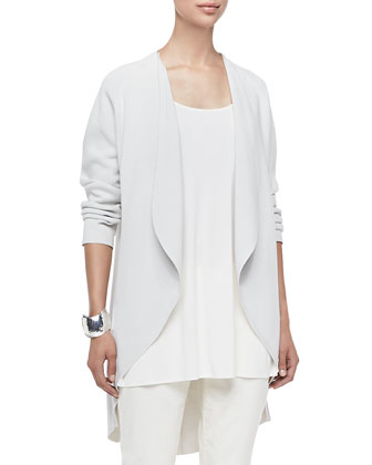 Long Silk-Cotton Interlock Oval Jacket, Women's