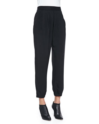 Slouchy Silk Ankle Pants, Black, Petite