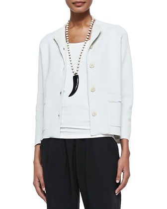 3/4-Sleeve Boxy Short Jacket, Petite