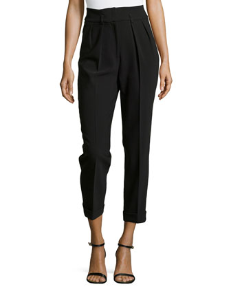 Crepe Crpped Pants, Black