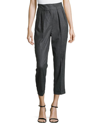 Flannel Pleated Crop Pants, Charcoal
