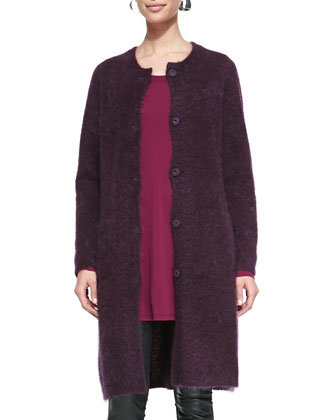 Mohair Plush Long Coat, Jersey Long-Sleeve Tunic, Tassled Shimmer Wool Wrap ...