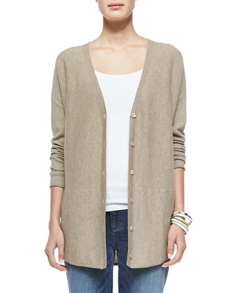 Cashmere Jersey V-Neck Cardigan, Tasseled Shimmer Wool Wrap, Organic Cotton ...