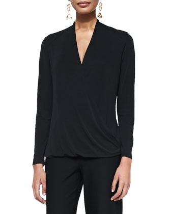 Wrapped & Draped Long-Sleeve Silk Top, Black, Petite