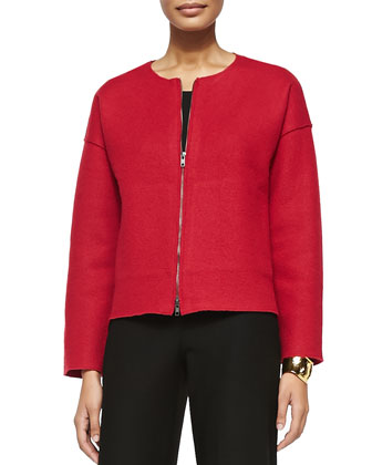 Boiled Wool Two-Zip Short Jacket, Lacquer, Petite