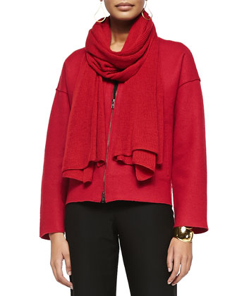 Boiled Wool Two-Zip Short Jacket, Stretch Silk Jersey Tank, Straight-Leg ...