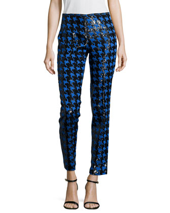 Houndstooth Paillettes Slim Ankle Pants. Black/Royal
