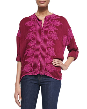 Fay Boxy Button-Front Blouse, Women's
