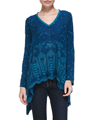 Flowy Eyelet V-Neck Tunic, Women's