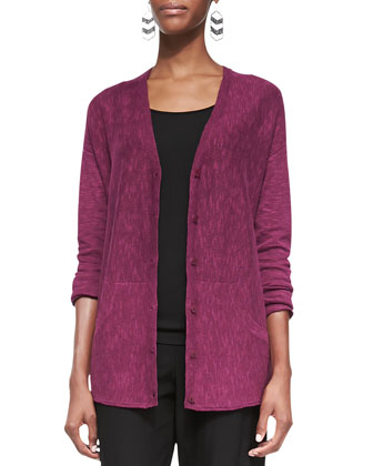 Organic Linen-Cotton Slub Cardigan, Women's