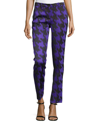 Houndstooth Jacquard Skinny Pants, Black/Grape