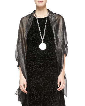 Velvet Vines Sleeveless A-Line Dress & Foiled Chiffon Silk Scarf