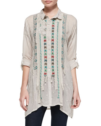 Long Embroidered Patch Detail Shirt, Women's