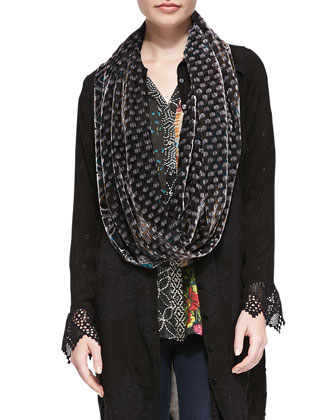 Favy Long Button-Front Tunic/Jacket, Mixed-Print Half-Button Blouse & ...