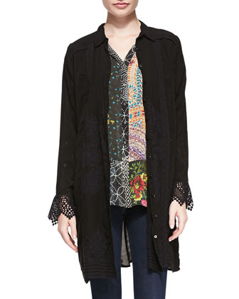 Favy Long Button-Front Tunic/Jacket