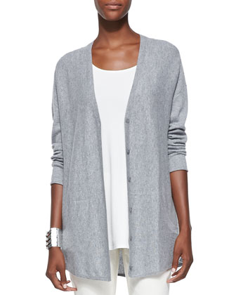 Fine Gauge Cashmere Cardigan, Long Silk Jersey Tunic, Slim Stretch Ankle ...