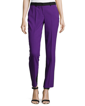 Samantha Two-Tone Slim Pants, Grape