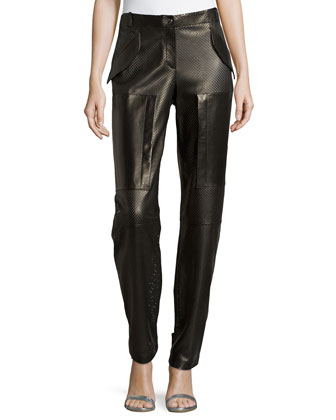 Perforated Leather Track Pants, Black
