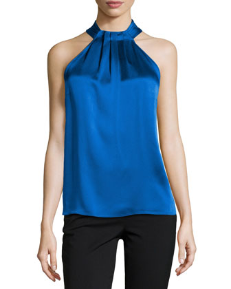 Satin Pleated Halter Shell, Royal