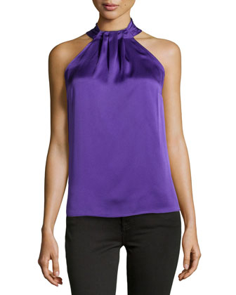 Pleated Halter Shell, Grape