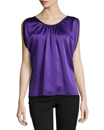 Satin Charmeuse Top with Binding, Grape