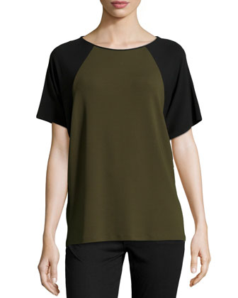 Short-Sleeve Colorblock Top, Olive
