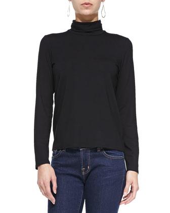 Scrunch-Neck Long-Sleeve Top, Black