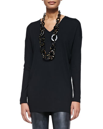 Long-Sleeve V-Neck Jersey Tunic, Black, Petite