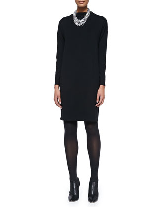 Funnel-Neck Jersey Dress, Black