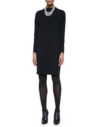 Funnel-Neck Jersey Dress, Black, Petite