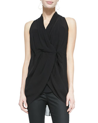 Sleeveless Silk Wrap Top