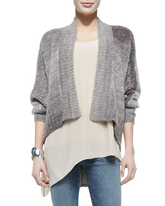 Blurred Mohair-Blend Angled Cardigan, Long Asymmetric Tank & Organic ...