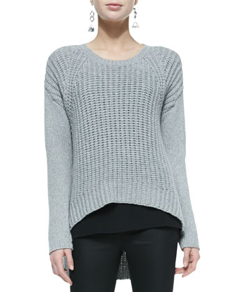 Airy Wool-Blend Arched Top, Long Silk Crepe Camisole & Coated Denim ...