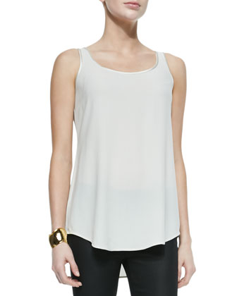 Silk Georgette Tank, Bone