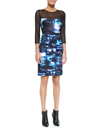 Cityscape-Print/Mesh Fitted Dress