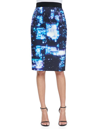 Cityscape-Print Pencil Skirt