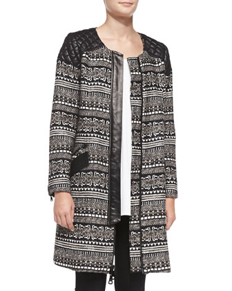 Mixed-Fabric Quilted-Shoulder Coat