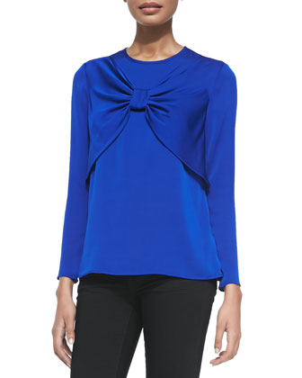 Bow-Front Stretch-Silk Top