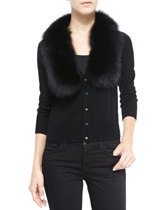 Fur-Collar Knit Cardigan
