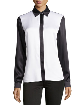 Satin Charmeuse Colorblock Shirt, White