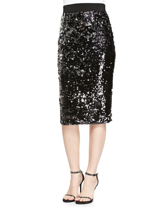 Gwyneth Bow-Neck Organza Top & Sequined Slim Pencil Skirt