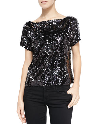 Scoop-Back Sequined Mesh Tee
