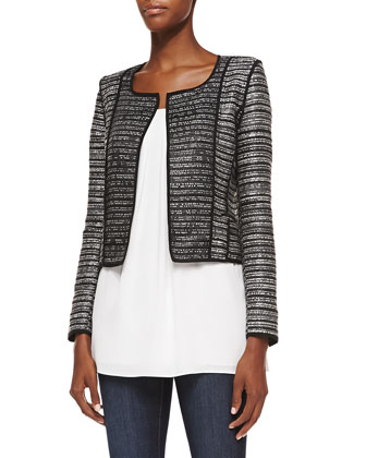 Cropped Open-Front Cardigan w/ Piping