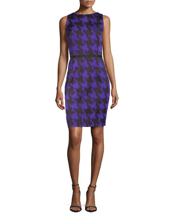 Houndstooth Jacquard Sheath Dress, Black/Grape
