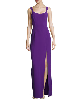 Sleeveless Column Tank Slit-Front Gown, Grape